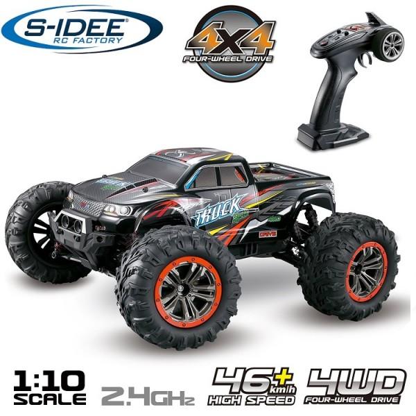s-idee® 18173 S9125 RC Monstertruck 1:10 mit 2,4 GHz 50 km/h schnell mit zwei Motoren