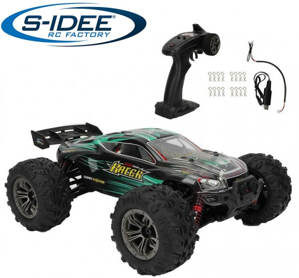 s-idee® 18242 High Speed RC Monstertruck 9138 grün 1:16 mit 2,4 GHz 36 km/h schnell Auto