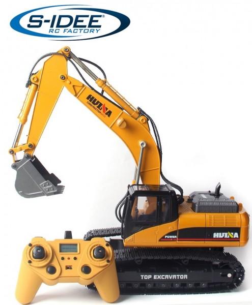 s-idee® Vollmetall Bagger 1580 V4 1:14 23 Kanal mit Rauch und Sound Huina 1580 580 Metallbagger neue