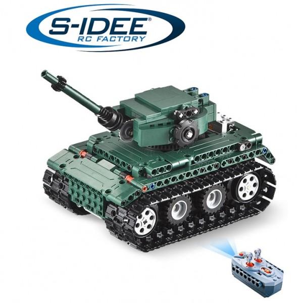 s-idee® C51018W 23014 RC Militär Bausteinpanzer Tiger 1 Tank mit Fernsteuerung
