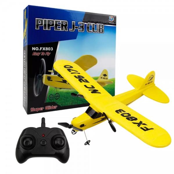 s-idee® 21002 Flugzeug Piper J3 FX803 Flieger rc ferngesteuert mit 2.4 Ghz Technik mit Lipo Akku