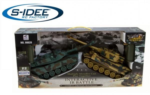 s-idee® 99828 2 x Battle Panzer 1:28 mit integriertem Infrarot Kampfsystem 2.4 Ghz RC R/C