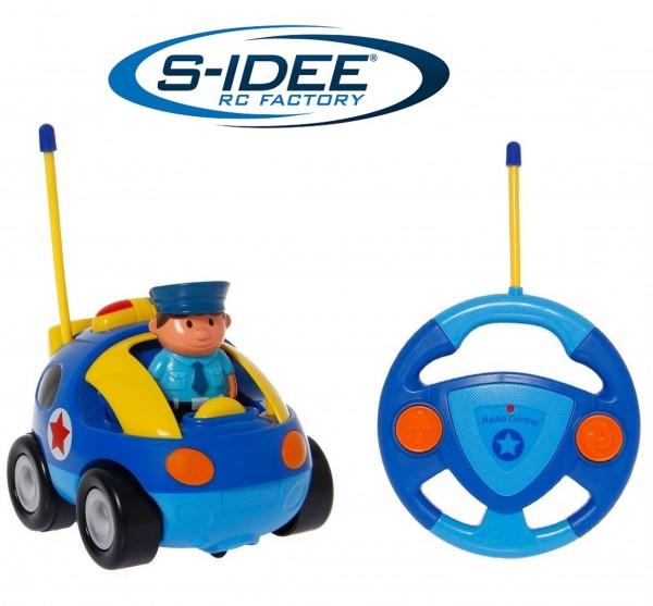 s-idee® 18164 RC Polizeitauto für Kleinkinder ab drei Jahren mit Musik und Lichteffekte Spielzeug Au