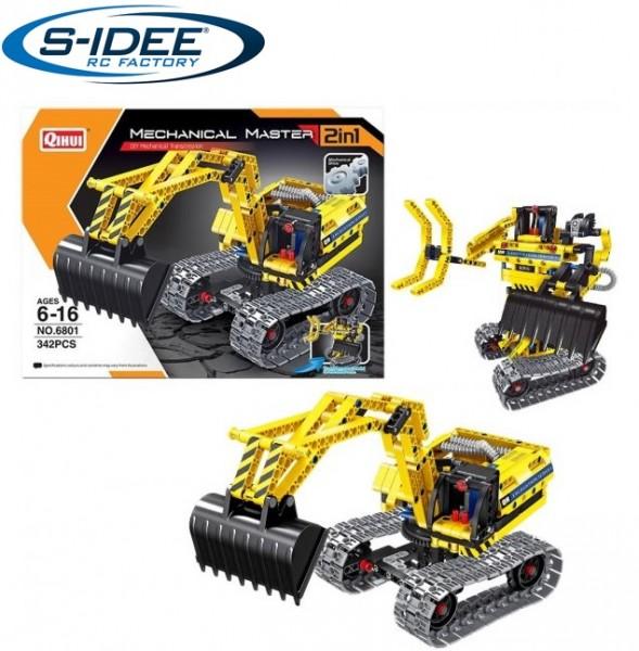 s-idee® 6801 Bausteinbagger 2in1-Modell mit schwenkbarer Schaufel