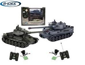 s-idee® 01919 2 x Battle Panzer 1:28 mit integriertem Infrarot Kampfsystem 2.4 Ghz RC R/C