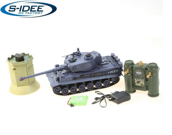 s-idee® 99867 Battle Panzer German Tiger 1:28 mit integriertem Infrarot Kampfsystem 2.4 Ghz RC R/C f