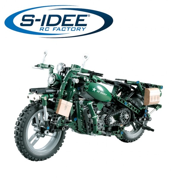 s-idee® C51022W 23012 Baustein-Militärmotorrad mit Fernsteuerung