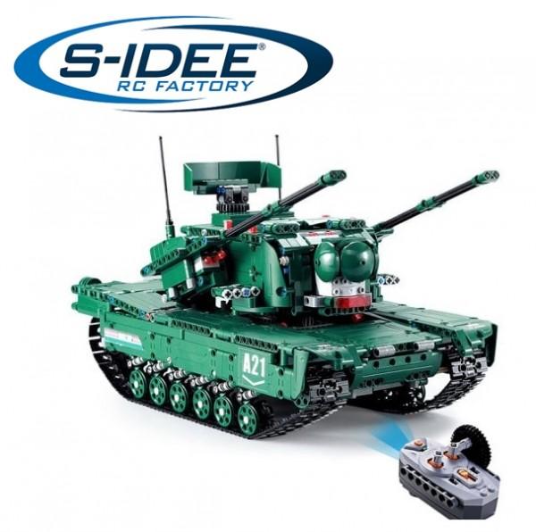 s-idee® C61001W 23015 RC Militär Bausteinpanzer M1A2 Tank mit Fernsteuerung