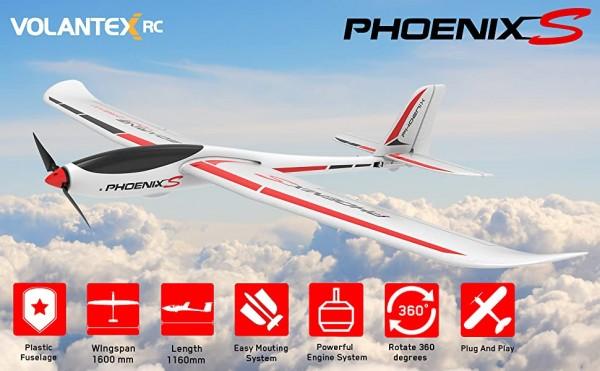 s-idee Volantex RC 742-7 Phoenix Evolution 2 in 1 RC Glider Flugzeug RC Segelflugzeug RTF