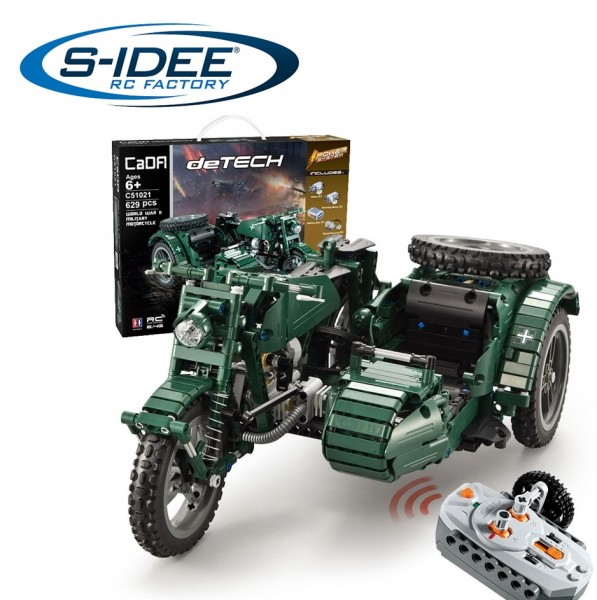 s-idee® Cada C51021 RC Militär Bausteinmotorrad