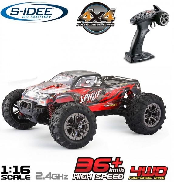 s-idee® 18174 S9130 RC Monstertruck 1:16 mit 2,4 GHz 36 km/h schnell Truggy Auto