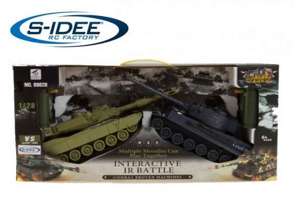 s-idee® 99827 2 x Battle Panzer 1:28 mit integriertem Infrarot Kampfsystem 2.4 Ghz RC R/C