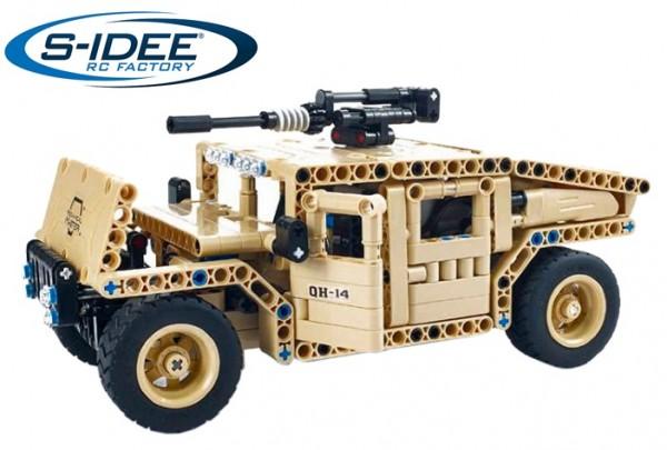 s-idee® 8014 RC Militär Bausteinfahrzeug mit Fernsteuerung